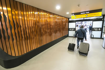 Poetic Geography copper artwork at Santiago International Airport