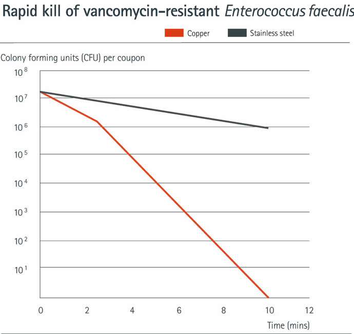 Antimicrobial efficacy of copper against vancomycin-resistant Enterococcus faecalis in a dry touch simulation
